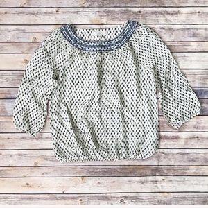 Loft embroidered ikat print blouse